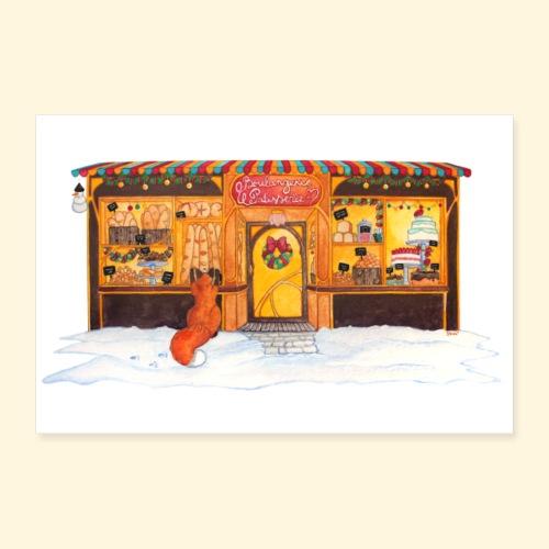 Boulangerie-Pâtisserie de Noël : Renard gourmand - Poster 60 x 40 cm