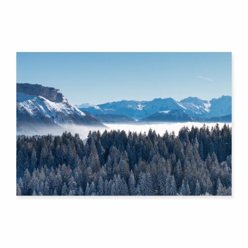 Montagnes enneigées depuis le Mont Revard - Poster 60 x 40 cm
