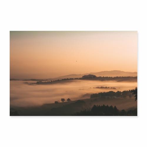 Nebellandschaft beo Sonnenaufgang - Poster 60x40 cm