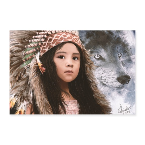 Native Girl & Wolf - Poster 60x40 cm