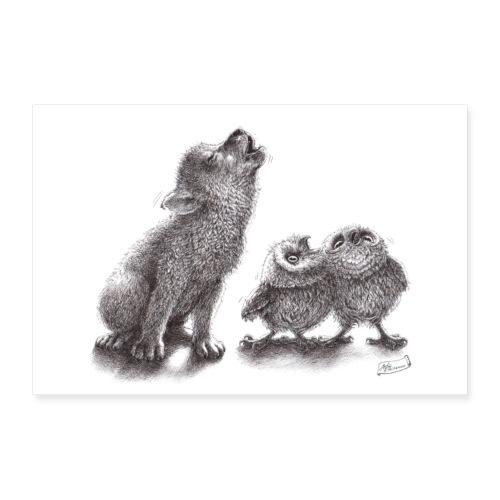 Wolf und Eulen - Poster 60x40 cm