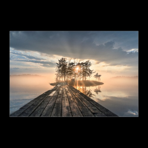 Usvainen auringonlasku Saimaalla - Juliste 60x40 cm