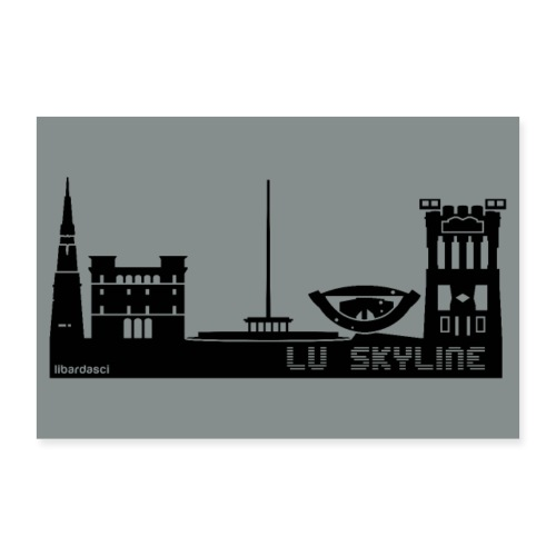 Poster: Lu Skyline grigio metal - Poster 60x40 cm