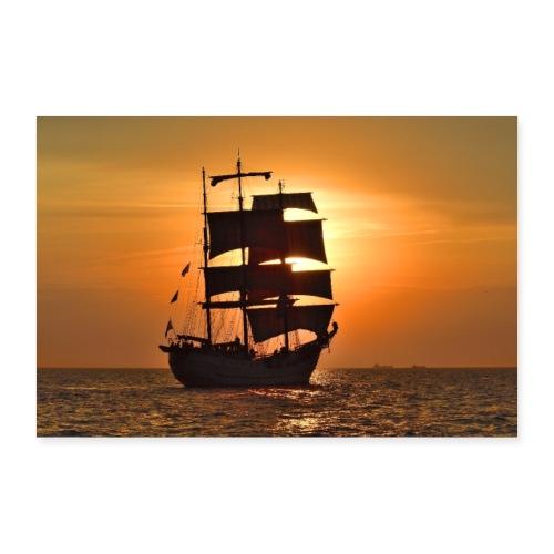 Schiff im Sonnenuntergang - Poster 60x40 cm