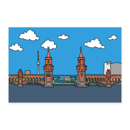 Oberbaumbrücke in Berlin Poster - Poster 60x40 cm