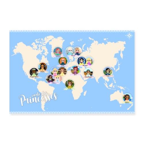 Carte des princesses - Poster 60 x 40 cm
