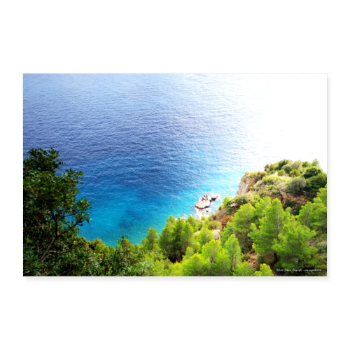 Amalfiküste Italien Meer Bäume Wald Natur Motiv - Poster 60x40 cm