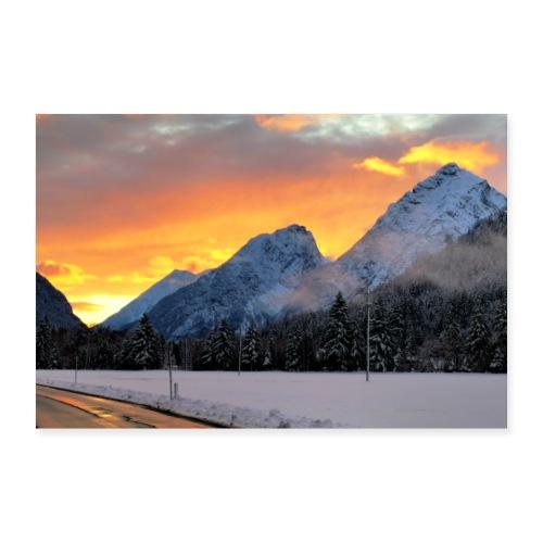 Sonnenuntergang Winterlandschaft Österreich Tirol - Poster 60x40 cm