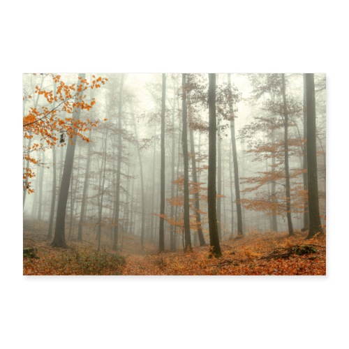 Poster mystischer Wald im Nebel Herbst Thüringen - Poster 60x40 cm