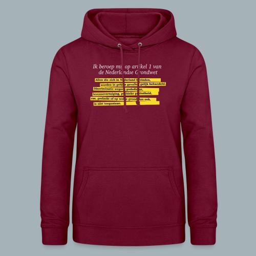 Nederlandse Grondwet T-Shirt - Artikel 1 - Vrouwen hoodie