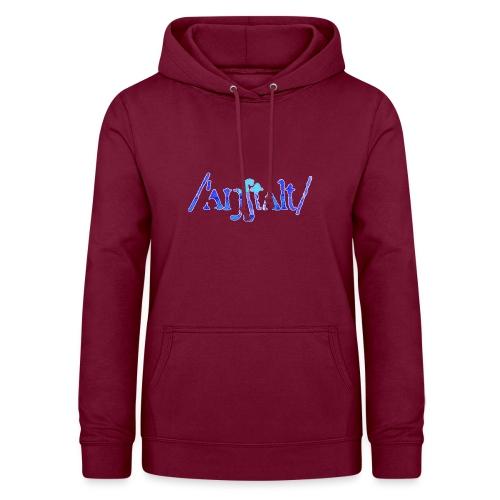 /'angstalt/ logo gerastert (blau/weiss) - Frauen Hoodie