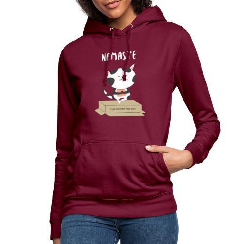 t shirt design template with funny cats doing yoga - Felpa con cappuccio da donna