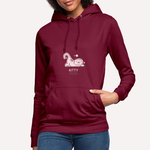 Yoga Pose Kitty Funny Print T-shirt Design - Women's Hoodie