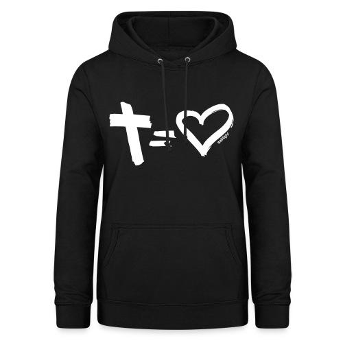 Cross = Heart WHITE // Cross = Love WHITE - Women's Hoodie
