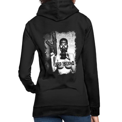 masked girl with AK - FUCK CORONA - 4black clothes - Frauen Hoodie