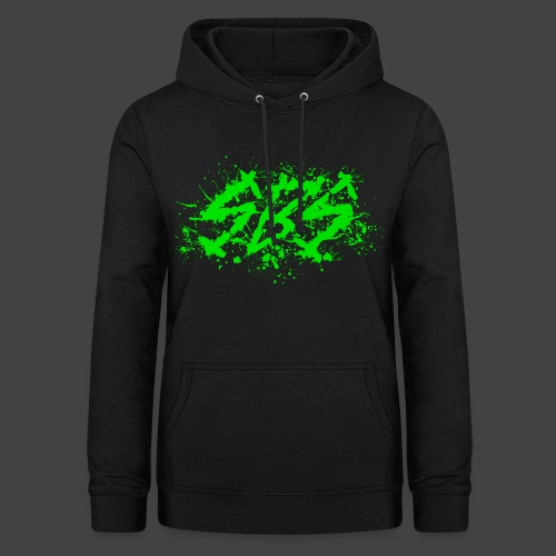 SBS Splatter Green Logo with Varsity Logo on Back - Felpa con cappuccio da donna