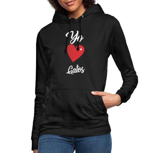 Diseño Yo Amo Gatos - Sudadera con capucha para mujer