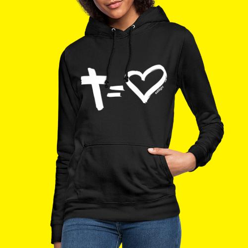 Cross = Heart WHITE // Cross = Love WHITE - Women's Hoodie
