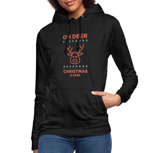 morsom julegenser - Oh deer, Christmas is here - Hettegenser for kvinner