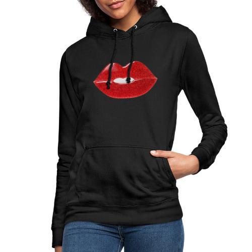 Labbra con glitter - Felpa con cappuccio da donna