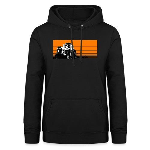 Sunset tractor orange - Felpa con cappuccio da donna