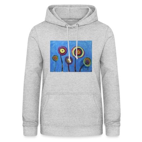 Blue flower - Felpa con cappuccio da donna
