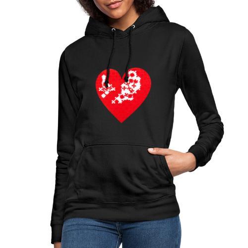 Heart Puzzle - Felpa con cappuccio da donna