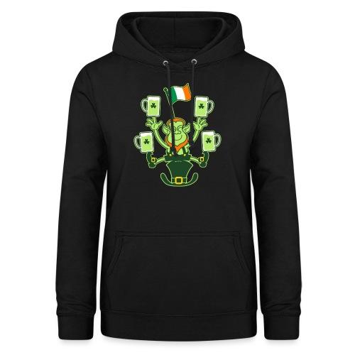 Leprechaun Juggling Beers and Irish Flag - Women's Hoodie