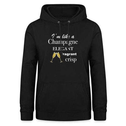 Designed White Wine Lover T-shirts Champagne Glass - Felpa con cappuccio da donna