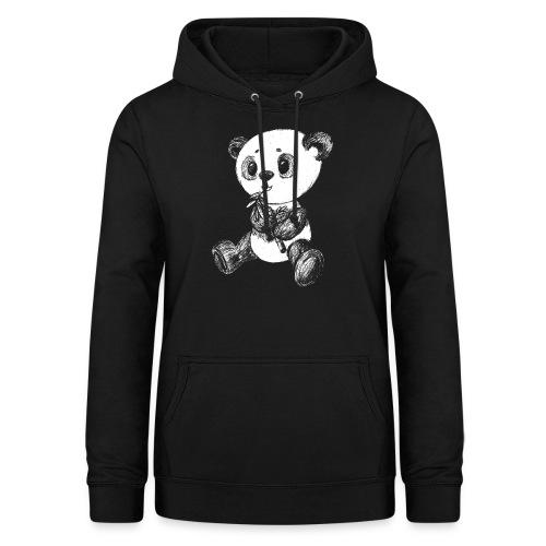 Panda bjørn hvid scribblesirii - Dame hoodie
