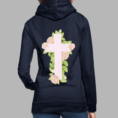 FLOWERS CROSS - Felpa con cappuccio da donna