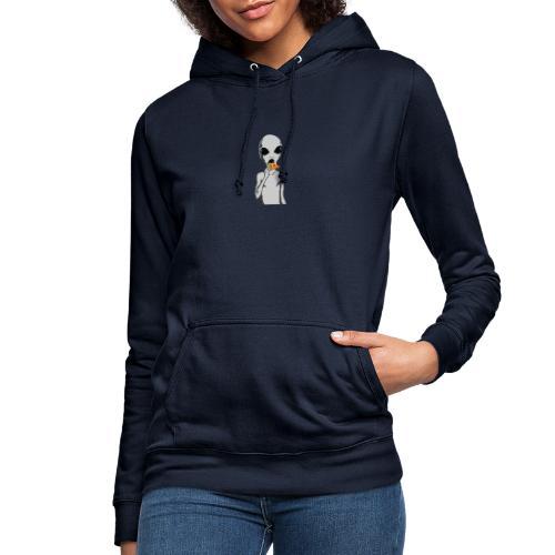 Alien con pizza - Sudadera con capucha para mujer