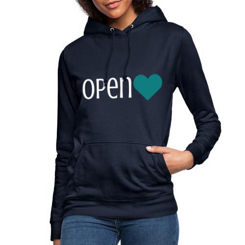 OPEN Heart, weiße Schrift - Frauen Hoodie