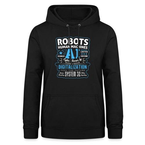 Robots Human Machine Ai Cyber Security - Felpa con cappuccio da donna