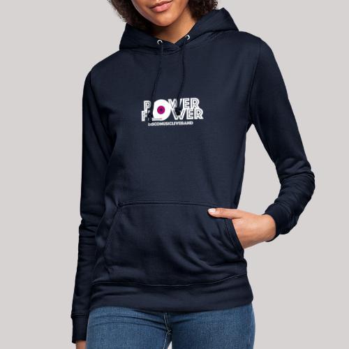 Logo PowerFlower bianco e fuxia - Felpa con cappuccio da donna