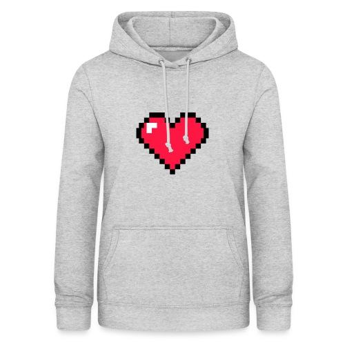 Corazón pixel - Sudadera con capucha para mujer
