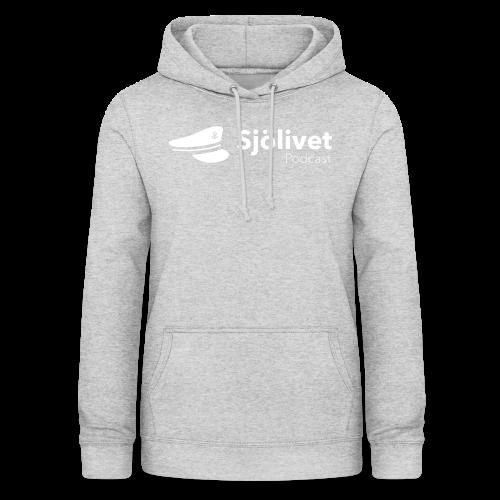 Sjölivet podcast - Vit logotyp - Luvtröja dam