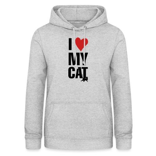 I_LOVE_MY_CAT-png - Sudadera con capucha para mujer