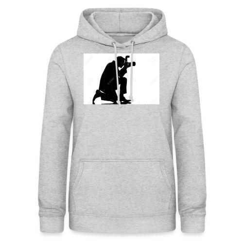 silueta de un hombre caucasico de rodillas - Sudadera con capucha para mujer