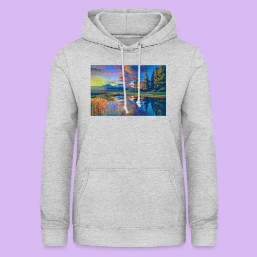 Paesaggio al tramonto con laghetto stilizzato - Felpa con cappuccio da donna