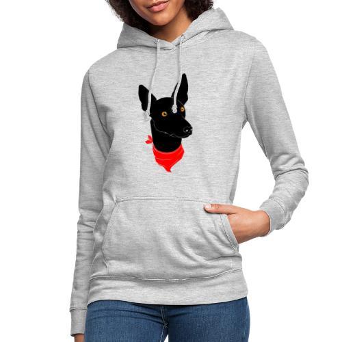 perro negro - Sudadera con capucha para mujer