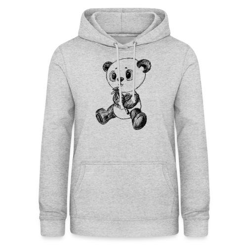 Panda bjørn sort scribblesirii - Dame hoodie