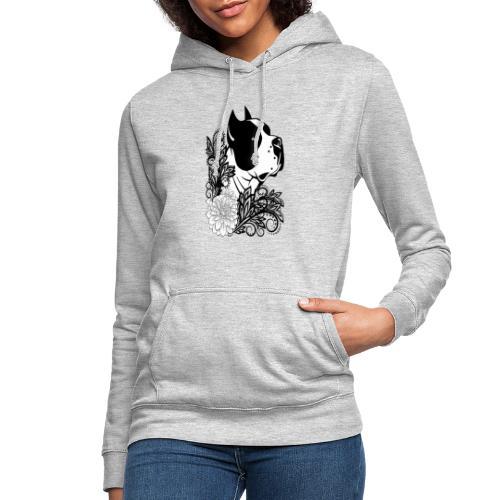 perro con flores - Sudadera con capucha para mujer