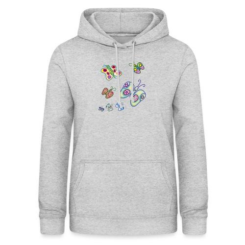 Allegria di farfalle - Felpa con cappuccio da donna