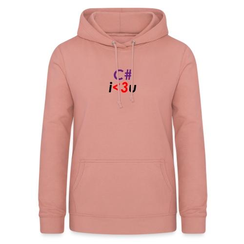 C# is love - Felpa con cappuccio da donna