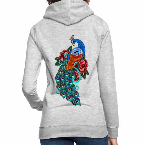 Farverig påfugl - Dame hoodie