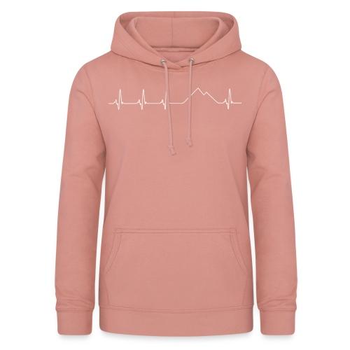 Electrocardiograma blanco - Sudadera con capucha para mujer