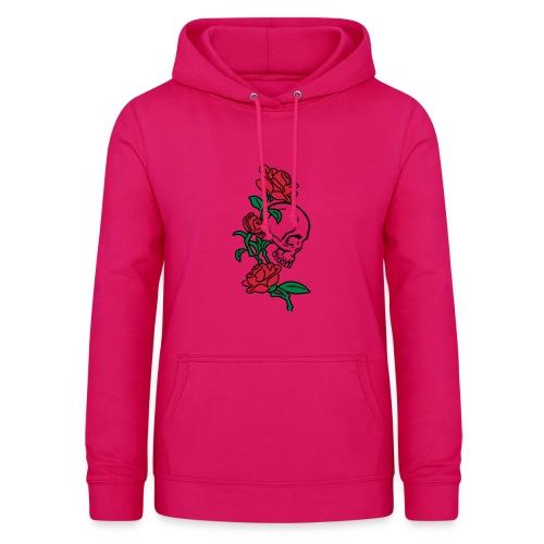 teschio e rose es123_2 - Felpa con cappuccio da donna