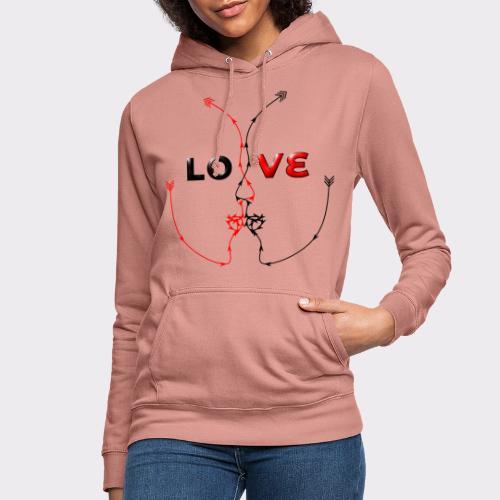 LOVE MINIMALISTIC LineART Valentinstaggeschenke - Frauen Hoodie