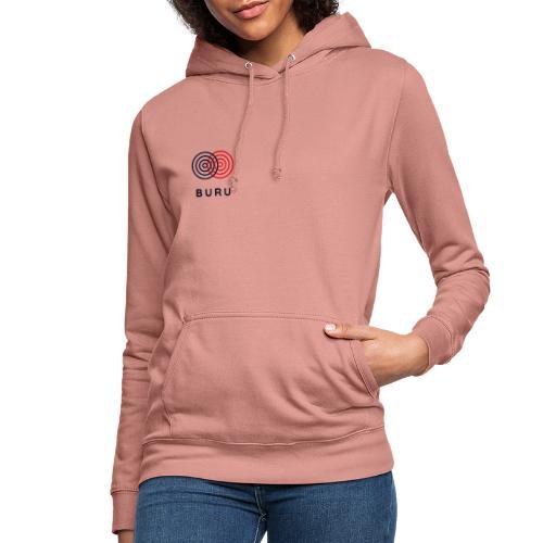 BURU negro rojo - Sudadera con capucha para mujer